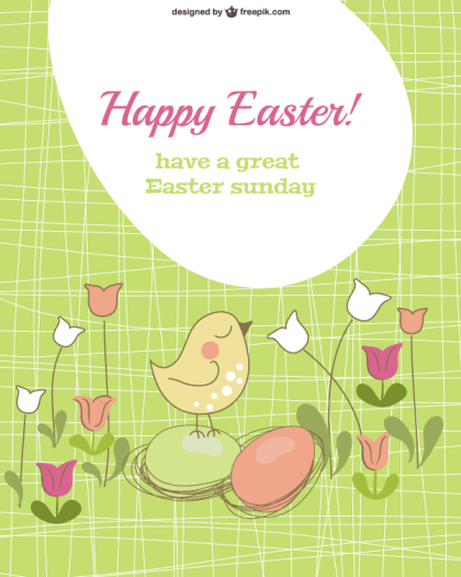 Vector Easter Card Template with Chick and Eggs