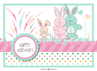 Easter Bunny Family Card Template