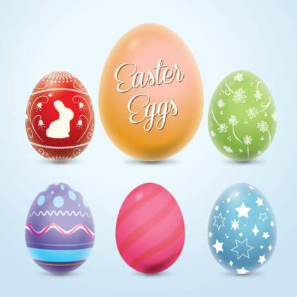 Colorful Easter Eggs Vector Graphics