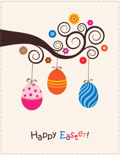 Easter Card with Colorful Eggs Hanging on Swirl Tree Branch