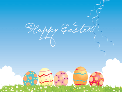 Happy Easter Card Vector Background with Colorful Eggs