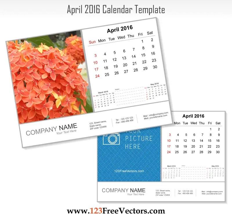 April 2016 Calendar Template