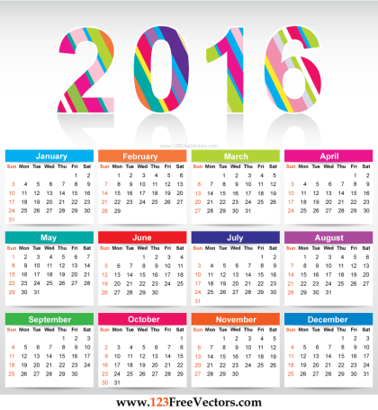 Free Colorful Calendar 2016 Vector Template