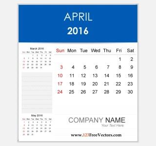 Editable Calendar April 2016