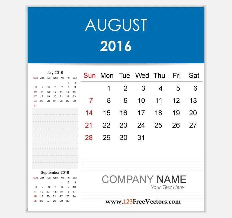 Editable Calendar August 2016