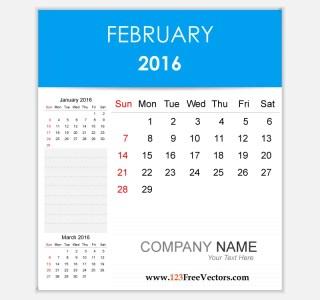 Editable Calendar February 2016