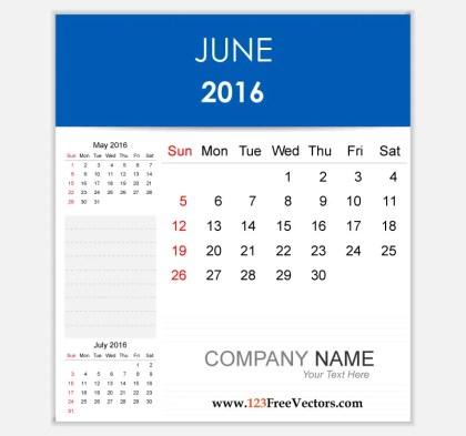 Editable Calendar June 2016