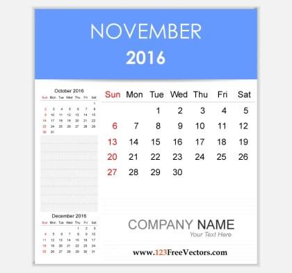 Editable Calendar November 2016