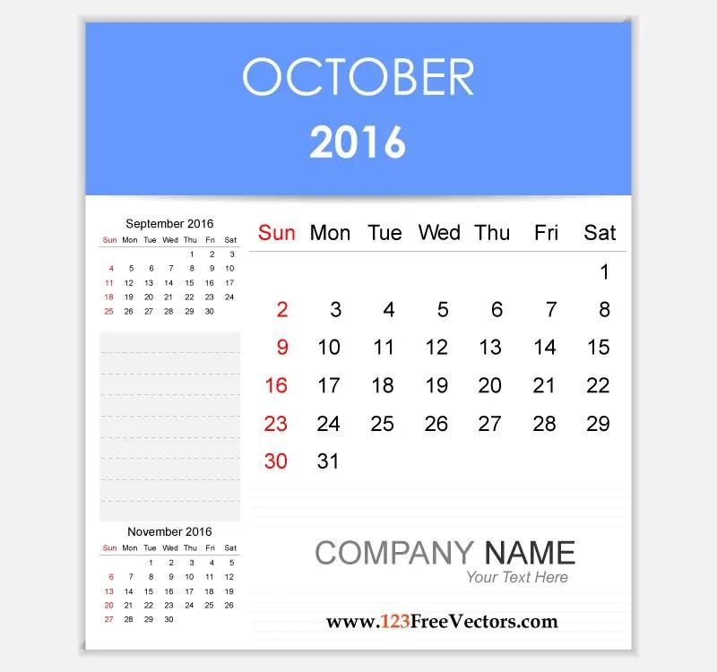 Editable Calendar October 2016