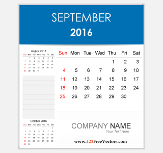 Editable Calendar September 2016