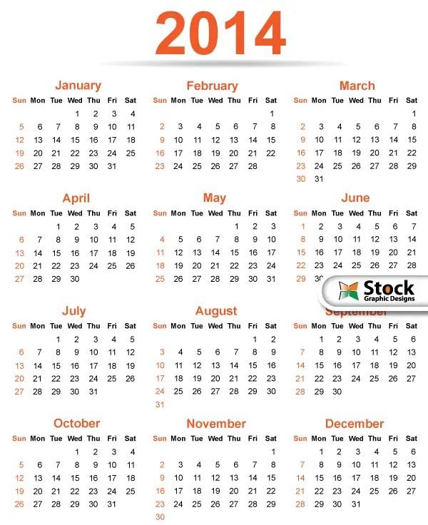 2014 Calendar Template Vector Free 123freevectors