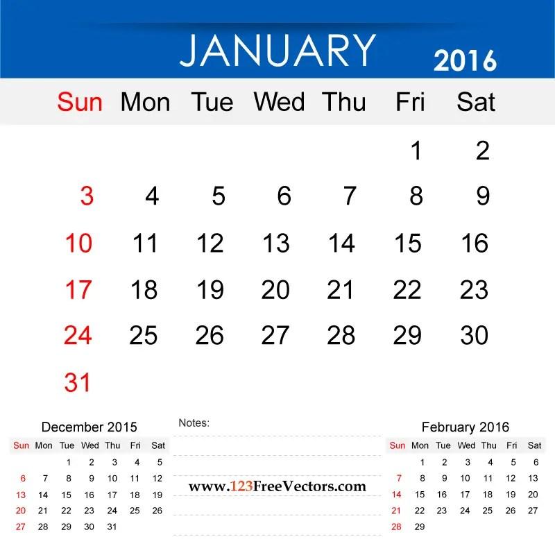 January 2016 Calendar Printable 123freevectors