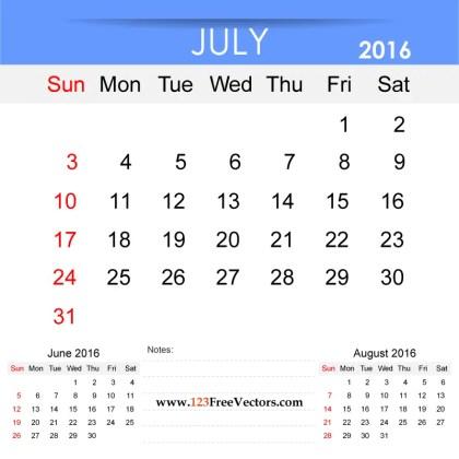 July 2016 Calendar Printable