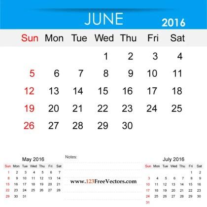 June 2016 Calendar Printable