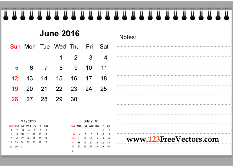 June 2016 Printable Calendar with Notes