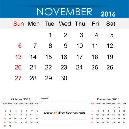 November 2016 Calendar Printable