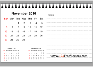 November 2016 Printable Calendar with Notes
