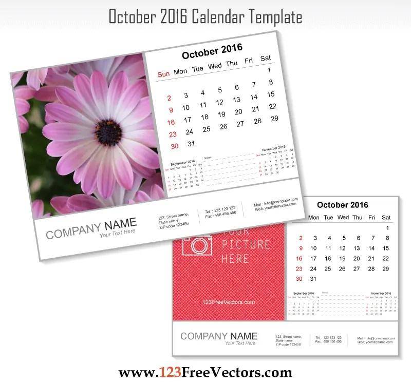 October 2016 Calendar Template