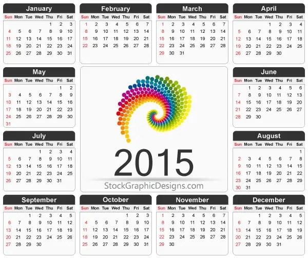 Printable 2015 Calendar Template Vector Free 123freevectors
