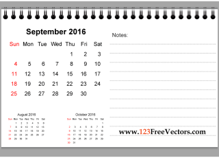September 2016 Printable Calendar with Notes