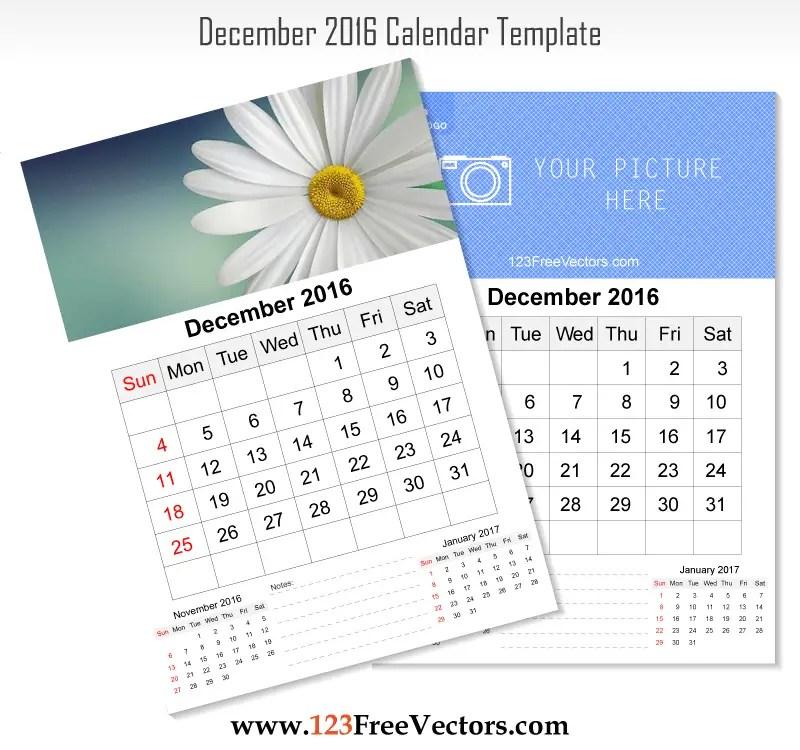 Wall Calendar December 2016