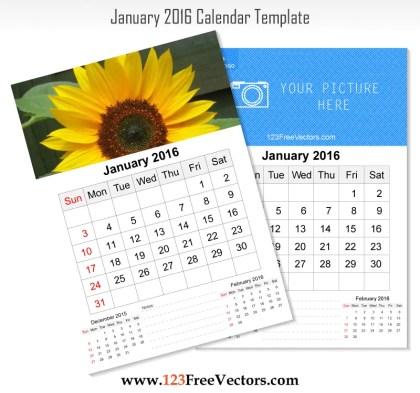 Wall Calendar January 2016