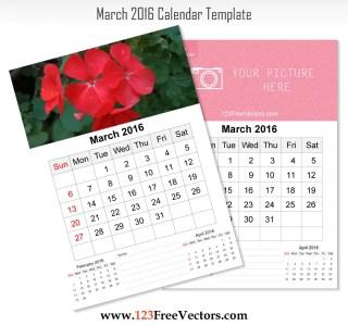 Wall Calendar March 2016