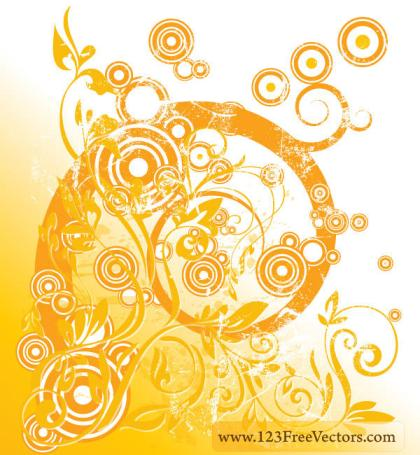 Swirl Floral Design Vector