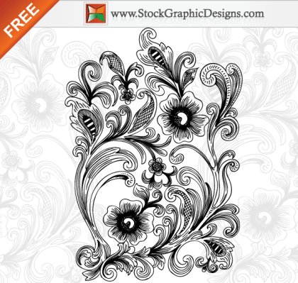 Beautiful Decorative Floral Free Vector Illustration