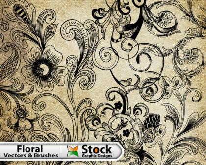 Free Vector Floral Vector & Brush Pack