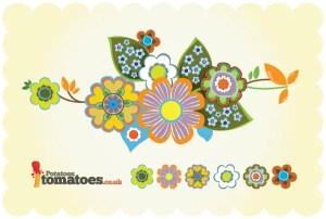 Retro Flowers Free Vector Art