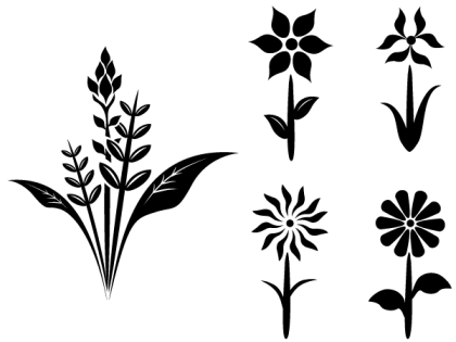 Free Flower Plant Vector Silhouettes