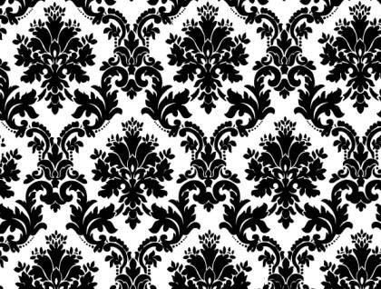 Black White Floral Background Vector