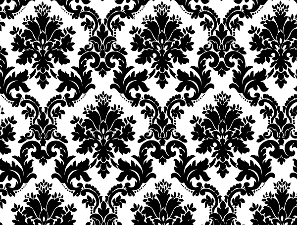 Black White Floral Background Vector