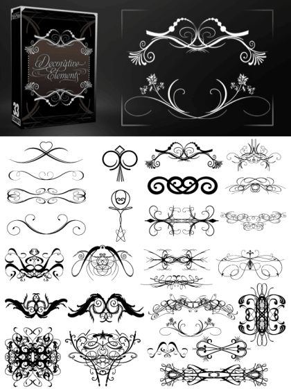Free Decorative Elements Vectors, Brushes Pack