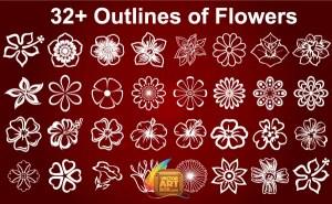Free Flowers Outline Vector Art