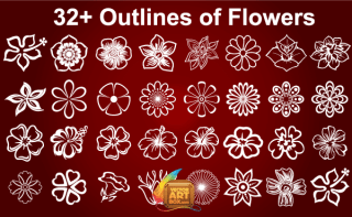 Free Flowers Outline Vector Art