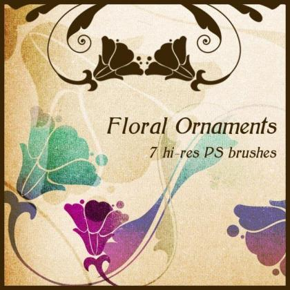 Free Floral Ornaments Vector and Photoshop Brushes