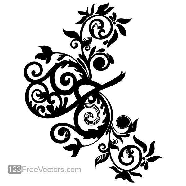 Hand Drawn Swirl Floral Vector Image 123freevectors