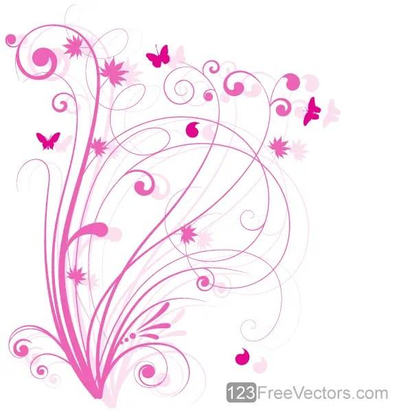 Vector Floral Design 5 Pink Floral Background