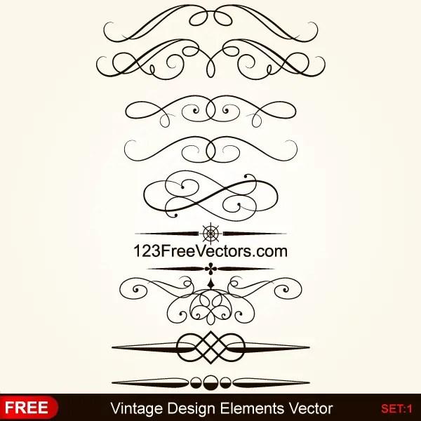 Vintage Calligraphy Borders Vector Graphics