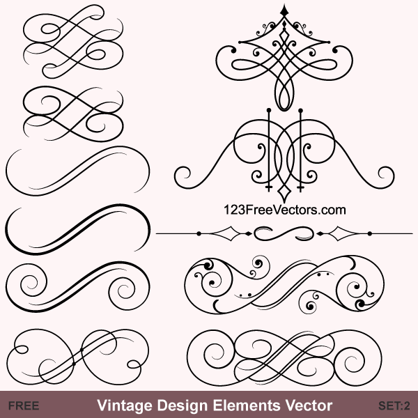 Vintage Calligraphic Vector Ornaments