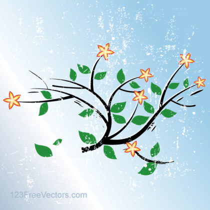 Grunge Blue Vector Background with Flowers