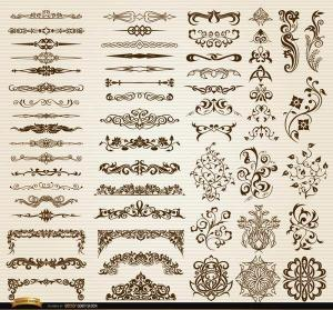 Free Vector Pack – 60 Floral Swirls Ornaments and Dividers