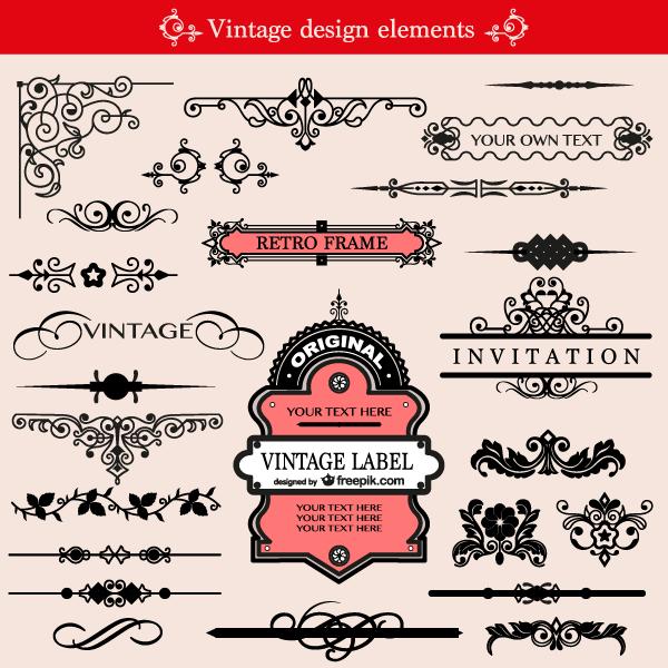 Free Vintage Ornament Design Elements Vector Pack