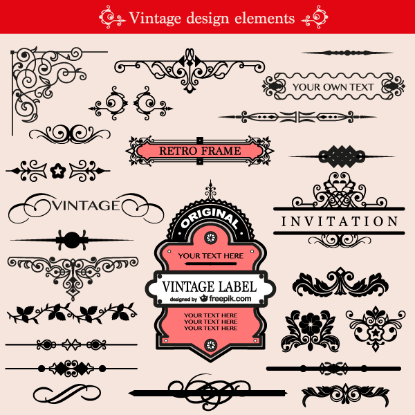 free vintage ornament design elements vector pack 123freevectors