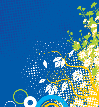 Flower Decoration Blue Background Vector Graphics