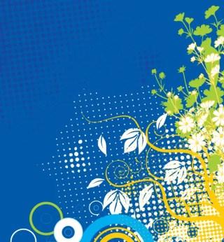 Flower Decoration Blue Background Vector Graphics