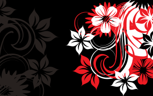 Flowers with Black Background Vector