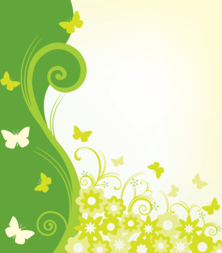 Green Paradise Flowers Decoration Vector Background